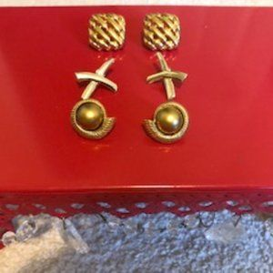 Vintage lot of 3 pairs of pierced earrings